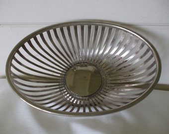 Silver Plate Oblong Wire Fruit, Bread Basket or Bowl,  Centerpiece, by Teleflora