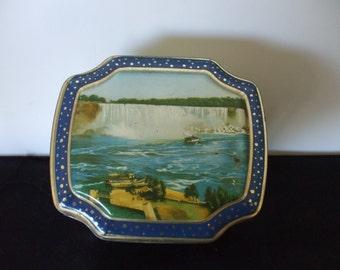 Horner Tin, Hinged Lid, Niagara Falls, Canadian Sites. Vintage,  Home Decor,  Gifts, Storage, #4135