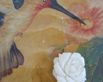 1930's Ivory Colored Carved Celluloid Floral Dress Clip