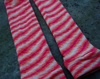 Baby Leggings - Striped Leg Warmers for Little Girls and Toddlers - Orange, Pink and White Zigzag Pattern