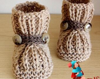 Knitting Pattern (PDF file)  Warm Feet Baby Booties (sizes 0-6/6-9/9-12 months)