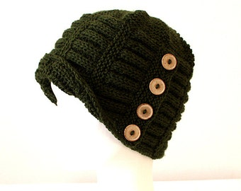Knitting Pattern  Buttoned Hat #3  (pdf file) (sizes - toddler; child; adult)