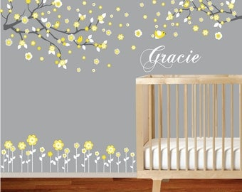 VACATION SALE-All orders ship Aug 15th!!Vinyl wall decal branch set yellow nursery wall decal sticker with flowers,birds,custom name
