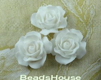698-00-CA 8pcs (20mm) High Quality Rose Cabochon- White
