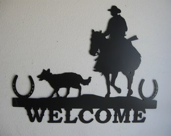 Western Country Welcome Sign Metal Wall Decor
