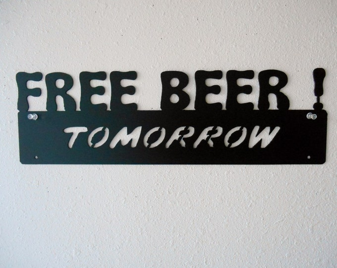 Free Beer Man Cave Metal Wall Decoration Sign Garage Decor