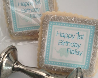 Birthday baby boy custom cookie party favors