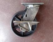 "Antique Industrial 6"" Caster, Cast Iron Wheel - Vintage 6TMB"