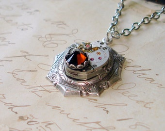 Vintage Seventeen Jewel Watch Movement Necklace Mounted on Premium Ornate Setting Mocha Swarovski Crystal   C 7-14