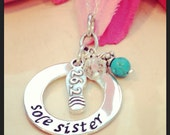 Hand stamped sole sister running necklace-half marathon necklace full marathon necklace