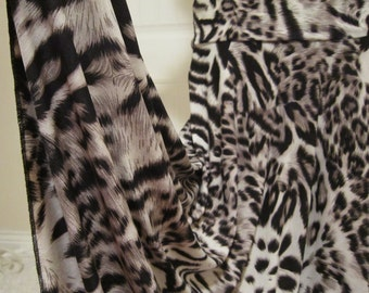 Ladies' Modest Black, Grey, and Ivory Animal Print Stretch Knit Jersey Maxi Skirt for Missionary, Travel,  or Leisure Wear, M/L.