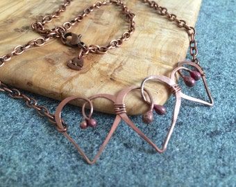 Organic Copper Necklace THREE HEARTS  * * * Free Shipping (U.S.)