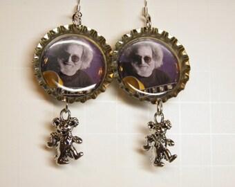 Grateful Dead Earrings, Sterling Silver and Pewter Dancing Bear Charms, Jerry Garcia Deadhead Hippie Jewelry, Grateful Dead Jewelry OOAK #2