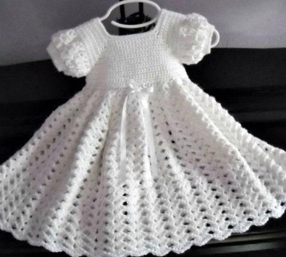 Crochet White Baby Dress Infant Baptism Blessing Christening