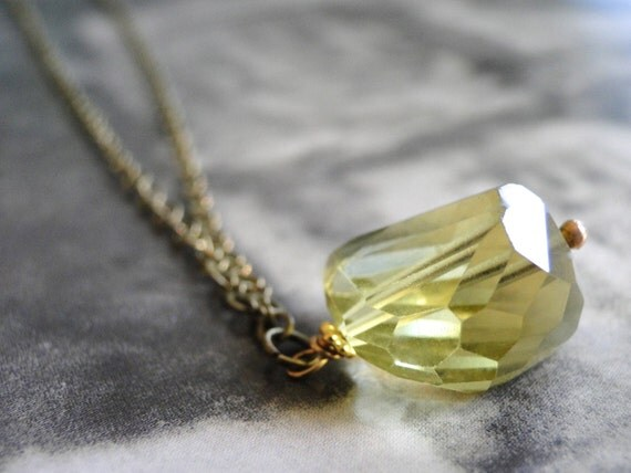 Lemon Quartz Necklace, Textured Brass Chain, Boho Charm Necklace, Accessories, Gift for Her, Gift Bo