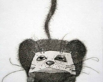 Etching / limited edition original etching (printmaking / graphic art) / original print / original art / cat art / cat etching - 'Pablo'