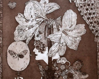 Etching / limited edition original etching (printmaking / graphic art) / original print / original art / botanical print - 'Amaryllis'