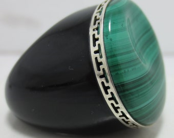 MALACHITE CUSTOM DESIGNED, onyx and Sterling very unusual ring
