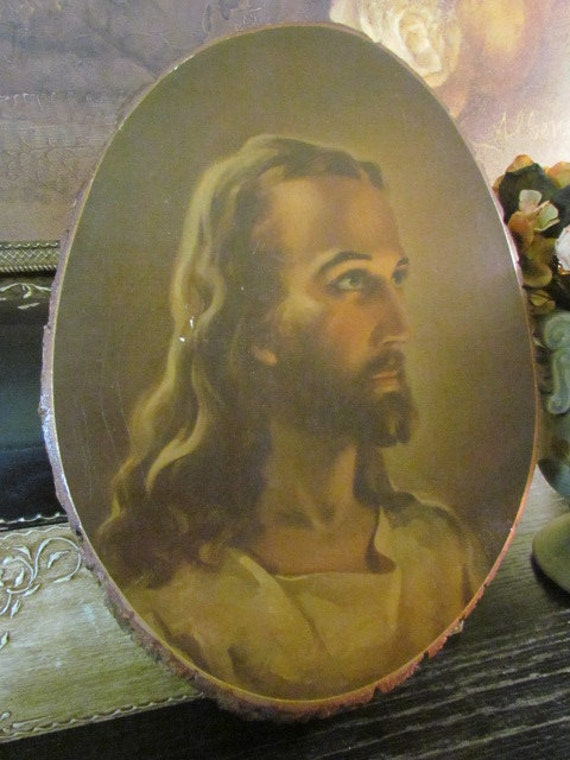 Vintage Religious Art Jesus Wall Plaque Wood By
