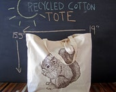 Canvas Tote - Screen Printed Recycled Cotton Grocery Bag - Large Tote Bag - Market Tote - Reusable and Washable - Eco Friendly - Squirrel