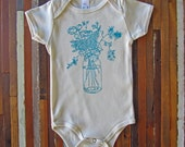 Organic Baby One Piece - Screen Printed Baby Clothing - American Apparel Baby Bodysuit - Wildflowers - Infant One Piece - Organic Baby Shirt