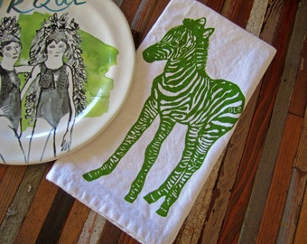 Organic Cotton Cloth Napkins - Screen Printed Dinner Napkins - Eco Friendly Table Linens - Handmade  - Zebra - Screenprint - Table Setting