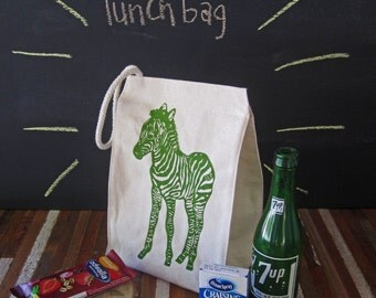 Reusable Lunch Bag - Screen Printed Recycled Cotton Lunch Bag - Eco Friendly Lunch Box - Zebra - Circus - Lunch Sack - Canvas Tote - Snack