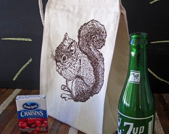 Lunch Bag - Screen Printed Recycled Cotton Lunch Bag - Reusable and Washable - Eco Friendly - Handmade - Lunch Box - Squirrel - Canvas Bag