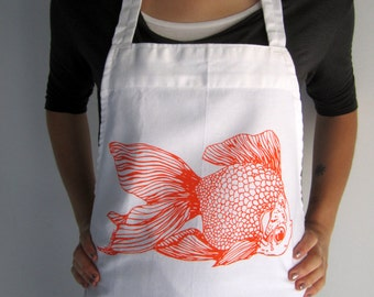 Screen Printed Cotton Apron - Natural Cotton Twill - Goldfish - Eco Friendly - Kitchen Apron - Handmade - Full Apron - Baking Apron