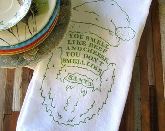 Christmas Towels - Christmas Tea Towels - Screen Printed Tea Towel - Christmas Decorations - Elf - Dish Towels - Kitchen Towels - Christmas