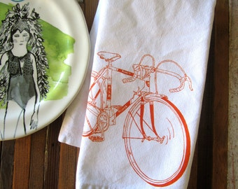Cloth Napkins - Handmade Cotton Cloth Napkins - Screen Printed Dinner Napkins - Eco Friendly Table Linens - Cycling - Bicycle - Road bike