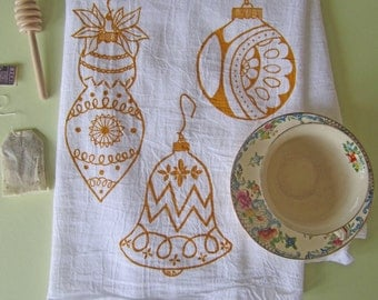 Christmas Tea Towel - Christmas Towels - Christmas Ornaments - Screen Printed Tea Towel - Kitchen Towels - Christmas Decorations - Towel Set