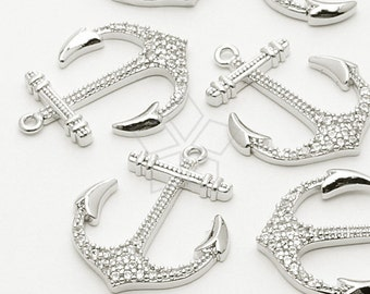PD-591-OR / 1 Pcs - Cubic Glittering Big Anchor Pendant, Silver Plated over Brass / 18mm x 22mm