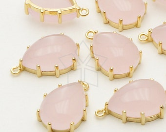 PD-609-GD / 2 Pcs - Pave Setting Smooth Drop Pendant (Rose Opal), Gold Plated over Brass / 12mm x 18mm