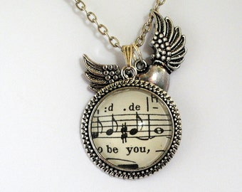 Be You Pendant Words and Music Winged Heart Inspirational Jewellery