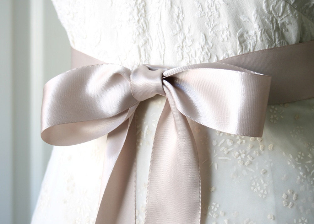 Taupe bridal sash double faced satin ribbon belt 1 5 inch for Satin belt for wedding dress