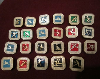 Set of 23 Vintage USSR CCCP  Olympics Game Moscow 1980 Collectible Badges Pins