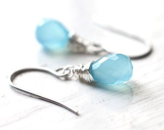 Sky Blue Teardrop Earrings,  Chalcedony Bridesmaid Jewelry for Summer Weddings - Colors of the Sky