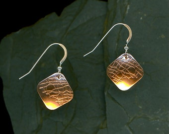 Square Copper Textured Earrings Copper Silver Dangle Handmade Earrings Handcrafted