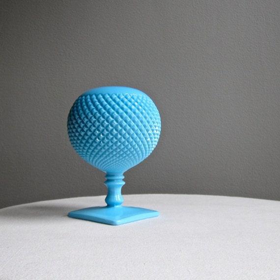 Vintage Westmoreland Blue Milk Glass Ivy Ball Vase English Hobnail - Round Sphere Geometric