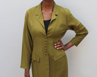 80s vintage green long body blazer, ringleader, olive / pea green - Small / Medium
