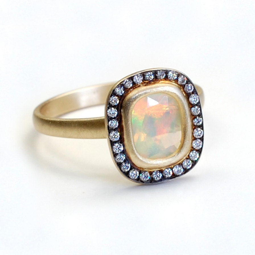 opal diamond ring opal engagement ring opal ring pave. Black Bedroom Furniture Sets. Home Design Ideas