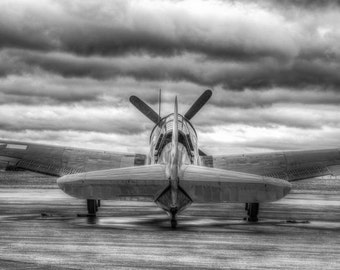 Curtis Helldiver Airplane Ready for Flight, Black and White Fine Art Photography