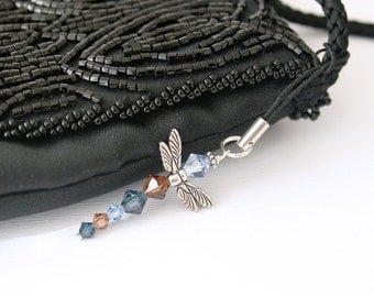 Dragonfly Charm - Dust Plug or Lanyard Charm, Smoky Topaz, Light Sapphire, Montana Blue