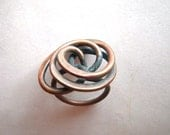 1970s Twisted Copper Wire Ring - Dramatic - size 7 3/4