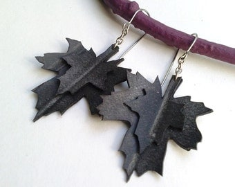 Sale - Maple Leaf Earrings - upcycled bicycle inner tubes eco jewelry