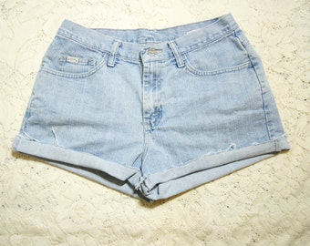Cutoff Jeans Shorts High Waist Large 30 Waist 90s Grunge Cuffed Rolled Up Distressed