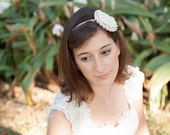 Bridal headband, wedding headband with a big flower, flower girl, handmade crochet, unique piece