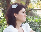 Bridal hairpiece with a lot of silver flowers - handmade crochet wedding accessory, unique piece