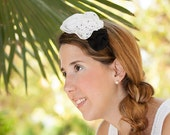 White, black and dotted bride headband - Three flowers handmade hairband for wedding or party
